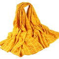 Classic Plaid Unisex Scarf Shawl Winter Warm Cotton Solid Panties 150*120CM - Yellow