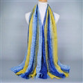 Colorful Chiffon Scarf Shawls Winter Women Print Floral Solid Scarves 180*90CM - Blue