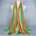 Colorful Chiffon Scarf Shawls Winter Women Print Floral Solid Scarves 180*90CM - Green