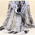 Cute Print Women Scarf Flower Bamboo Fiber Warm Scarves Wraps 180*90CM - Black
