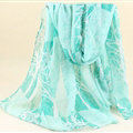 Cute Print Women Scarf Flower Bamboo Fiber Warm Scarves Wraps 180*90CM - Green