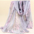 Cute Print Women Scarf Flower Bamboo Fiber Warm Scarves Wraps 180*90CM - Grey