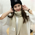 Cute Unisex Scarf Shawl Winter Warm Wool Solid Wraps 180*60CM - Beige