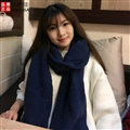 Cute Unisex Scarf Shawl Winter Warm Wool Solid Wraps 180*60CM - Blue