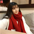 Cute Unisex Scarf Shawl Winter Warm Wool Solid Wraps 180*60CM - Dark Red