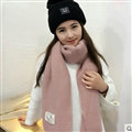 Cute Unisex Scarf Shawl Winter Warm Wool Solid Wraps 180*60CM - Pink