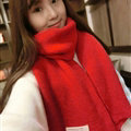 Cute Unisex Scarf Shawl Winter Warm Wool Solid Wraps 180*60CM - Red