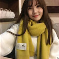 Cute Unisex Scarf Shawl Winter Warm Wool Solid Wraps 180*60CM - Yellow