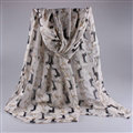 Cute Women Scarf Print Animal Dogs Bamboo Fiber Scarves Wraps 180*90CM - Beige