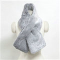 Cute Women Scarf Shawl Winter Warm Worsted Solid Wraps 100*20CM - Grey