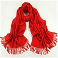 Exquisite Scarf Shawls Winter Warm Cashmere Solid Wholesale 200*60CM - Red