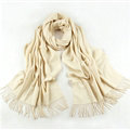 Exquisite Scarf Shawls Winter Warm Cashmere Solid Wholesale 200*60CM - White