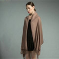 Fashion Tassels Women Scarf Shawl Winter Warm Cashmere Solid Panties 200*60CM - Khaki