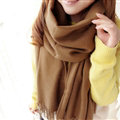 Fashion Tassels Women Scarf Shawl Winter Warm Wool Solid Panties 206*60CM - Coffee