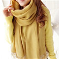 Fashion Tassels Women Scarf Shawl Winter Warm Wool Solid Panties 206*60CM - Yellow