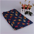 Fashion Women Scarf Print Animal Bamboo Fiber Scarves Wraps 180*90CM - Dark Blue