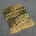 Fringed Leopard Print Scarf Shawls Women Winter Warm Cashmere Panties 180*70CM - Yellow