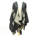 Plaid Scarf Shawls Woman Pashmina Winter Warm Cashmere Female Panties 140*135CM - Beige