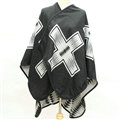 Plaid Scarf Shawls Woman Pashmina Winter Warm Cashmere Female Panties 140*135CM - Black