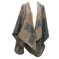 Plaid Scarf Shawls Woman Pashmina Winter Warm Cashmere Female Panties 140*135CM - Brown
