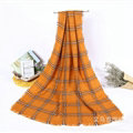 Plaid Women Scarf Shawls Winter Warm Wool Solid Scarves 200*100CM - Yellow