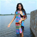 Print Women Scarf Shawls Winter Warm Cashmere Solid Scarves 180*70CM - Blue