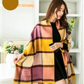 Tassels Plaid Women Scarf Shawl Winter Warm Cashmere Panties 200*60CM - Yellow