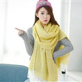 Unique Women Tassels Scarf Shawl Winter Warm Cashmere Solid Panties 215*65CM - Yellow