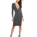 Autumn Dresses Long Sleeved Sexy Female Band Nightclub A-Line Cotton - Grey