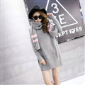 Cute Dresses Winter Female Warm O-Neck Polyester Scarf Knee Length Long Sleeve - Grey