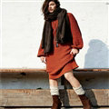 Dresses Novelty Solid Full Sleeve Long Loose Thin Sleeve Knit Female - Red