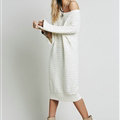 Dresses Novelty Solid Full Sleeve Long Loose Thin Sleeve Knit Female - White