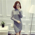 Dresses Women Winter Long Sleeved Pullover Solid Slim Package Hip knitted Midi Office - Grey