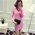 Dresses Women Winter Long Sleeved Pullover Solid Slim Package Hip knitted Midi Office - Pink