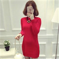 Dresses Women Winter Long Sleeved Pullover Solid Slim Package Hip knitted Midi Office - Red