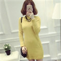 Dresses Women Winter Long Sleeved Pullover Solid Slim Package Hip knitted Midi Office - Yellow