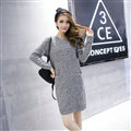 Fashion Dresses Winter Women Slim Solid O-Neck Knee-Length Cotton - Grey