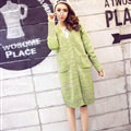 Fashion Sweater Flat Knitted Cardigan Coat Long Thick Warm Solid V-Neck - Green