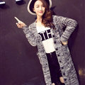 Fashion Sweater Flat Knitted Cardigan Coat Long Thick Warm Solid V-Neck - Grey