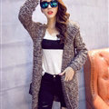 Female Sweater Overcoat Hand Knitted Long Hooded Thread Sanding Warm Thick - Khaki