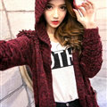 Female Sweater Overcoat Hand Knitted Long Hooded Thread Sanding Warm Thick - Red