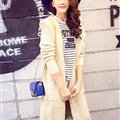 Sweater Fashion Female Solid Hooded Cardigan Thick Warm Flat Knitted - Beige
