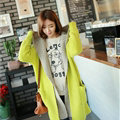 Sweater Female Loose Hooded Knit Thickened False Two Long Cardigan Coat - Yellow
