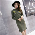 Winter Dresses Backing Slim Worsted Knee-Length O-Neck Trend - Green
