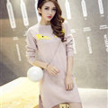 Winter Dresses Backing Slim Worsted Knee-Length O-Neck Trend - Pink