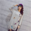 Winter Dresses Character Fashion Embroidery Female Warm Long Tassel - Grey