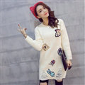 Winter Dresses Character Fashion Embroidery Female Warm Long Tassel - White