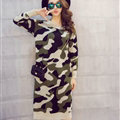 Winter Dresses Knee-Length Making Fashion Camo Street Color Long Sleeved Slim - Green