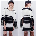 Winter Dresses Sleeve Long Tassel Knitted Three Quarter Female - Black White