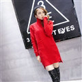 Winter Fashion Dresses Female Turtleneck Slim Split Turtle Neck Long Sleeve - Red